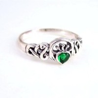 Sterling Silver Green Crystal Claddagh Celtic Ring, sz 6