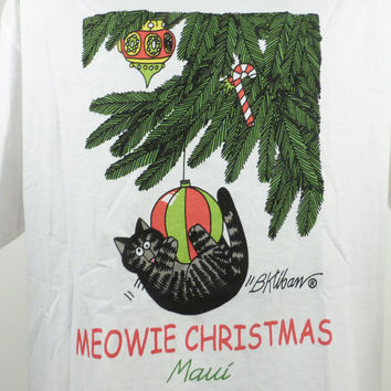 Kliban Cat Ugly Christmas Sweater Vintage 1990s Shirt Meowy Christmas Large