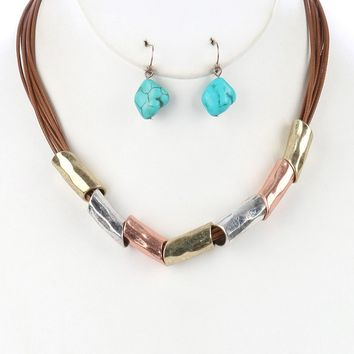 Brown Hammered Metal Barrel Multi Cord Bib Necklace And Earring Set