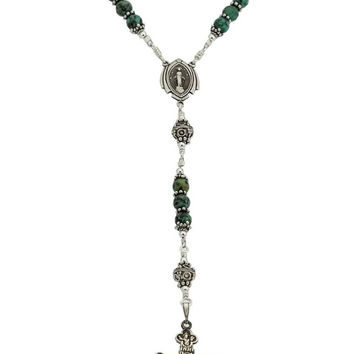 "Sterling Silver Rosary Necklace Turquoise 6mm Crucifix & Miraculous Medal, 23"" Prayer Beads"