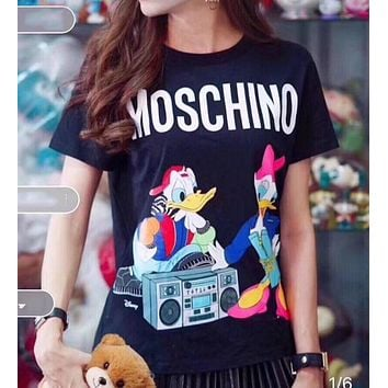 MOSCHINO Popular Women Men Leisure Cute Donald Duck Print Round Collar T-Shirt Top