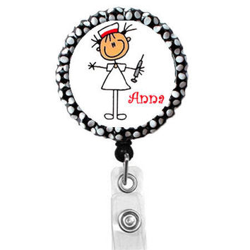 Personalized Stick Needle Nurse - Name Badge Holder - Cute Badge Reel - ID Badge Reel - Pharmacy Tech Badge - Pharmacist Badge Reels
