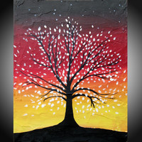 """ARTFINDER: The Tree of Love and Life landscape forest wood painting colour abstract painting art canvas yellow red - 18 x 24"""" by Stuart Wright - A good sized original abstract canvas painting ..."""