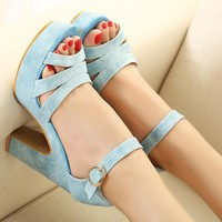 Candy Color High Heel Sandals for Women NGC23
