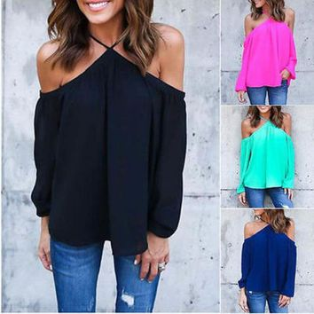 LMFYN6 NEW Women Fashion Sexy Chiffon Top Long Sleeve  Off the Shoulder Shirt Casual Blouse
