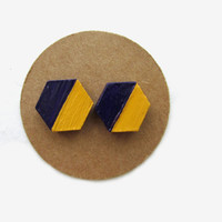 LSU Wooden Hexagon Purple Gold Gameday Earrings // Purple and Gold // Gold and Purple // LSU earrings // LSU Accessories // Game Day Attire
