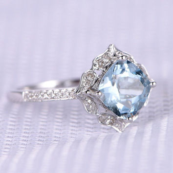 Custom order for a special customer,Cushion Aquamarine Engagement ring,7x7mm AAA stone,diamond Wedding Band,Size 9,14k White gold