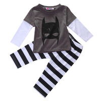 2Pcs/Set!Cute Batman Infant Baby Boy Clothes T-shirt Striped Legging Pants Outfit Set Alternative Measures