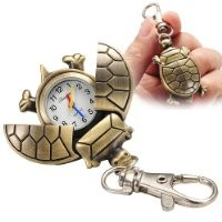 Fashion Cute Turtle Keychain Pocket Chain Clip Watch for Women Men Children