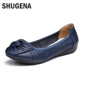 Handmade genuine leather ballet flat shoes women female casual shoes women flats shoes