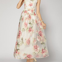 White Floral Print Organza Maxi Dress