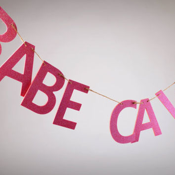 Large BABE CAVE Banner, Big Wood Letters Banner, Pink Glitter  Banner, Girls Room Banner, Girls Room Decor, Wooden Banner, Pink Glitter Sign