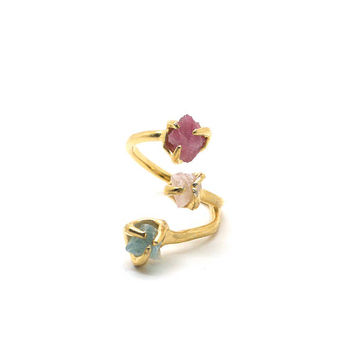 Trio Ring - Pink Tourmaline, Rose Quartz, Fluorite