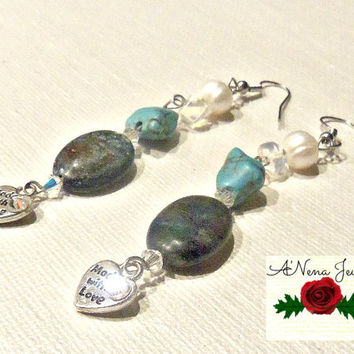 "Earrings :Squama, Genuine Fresh Water Pearl, Mooonstone, Howlite, Swarovski Crystal ""Comfort"""