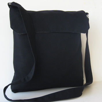 Messenger Bag in Black Wool by jazzygeminis on Etsy