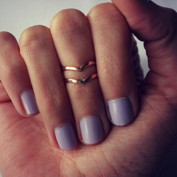 Rose Gold knuckle ring set, chevron stacking rings - midi rings, Rose Gold rings