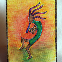 Kokopelli, Fabric Postcard, Southwest art, Native American