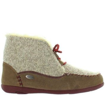 ONETOW Acorn Slopeside - Caribou Suede/Knit Fur-Lined Moc Slipper Bootie