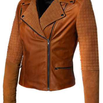 Women Leather Biker Jacket with Two Tone Oil Pull up and Suede Leather