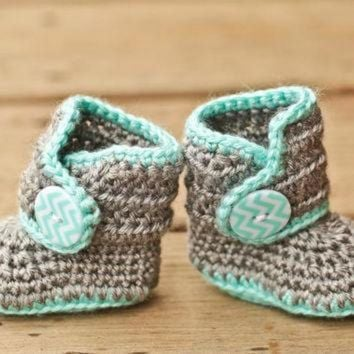CREY1O Crochet Baby Booties - Baby Boots - Mint Teal and Grey Baby Shoes Chevron - Chevron Ba