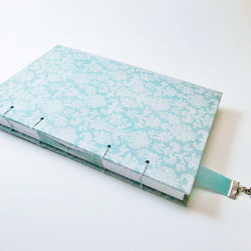 Travel Diary | Damask Journal | Handmade Gift for Writer | Coptic Stitch Writing Journal | Blank Book | Personal Journal | Ribbon Bookmark
