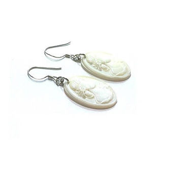 Mother Of Pearl  Earrings ,  Cameo Earrings , Sterling Silver Ear Wires , Carved Mother Of Pearl Earrings