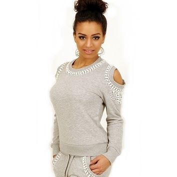 Grey beaded tracksuit - Off the shoulder