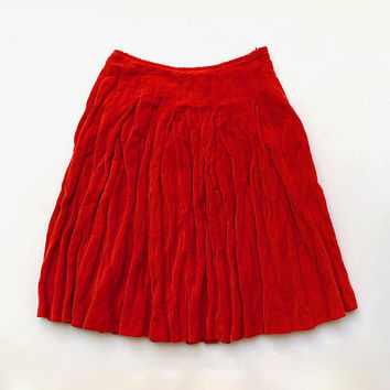 DRIES VAN NOTEN!!! 'Dries van Noten' tomato red, flared, velvet skirt with darts and waist tucks / Made in Belgium