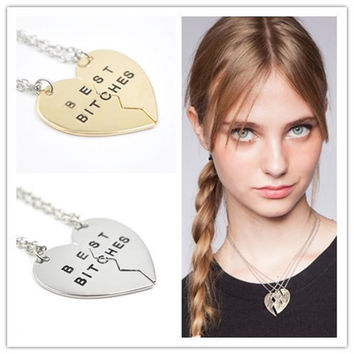 Cute Two Flap Stitching Best Bitches Broken Heart Pendants Necklace