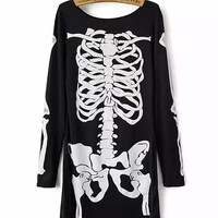 Black Skull Print Long Sleeve Bodycon Mini Dress