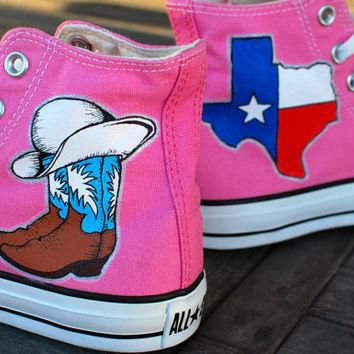 Texas Cowboy Boots Cowgirl theme Converse Chuck Taylor Hi Tops - Pink Canvas - customi