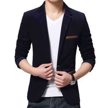 One Button Fitness Corduroy Jackets Men Long Sleeve blazer