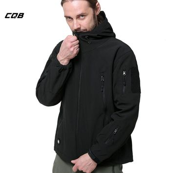 CQB Outdoor Sports Camping Hiking Tactical Military Men's Softshell Jackets Male Fleece Climbing Clothes Windproof Hunting Coat