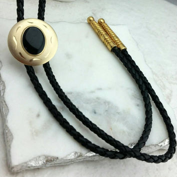 Vintage Southwest Etched Brass Black Bolo Tie Necklace - Retro Boho Chic / Cord Tie / Cowgirl