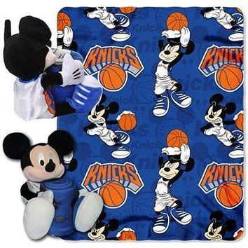 "NEW YORK KNICKS 40""X50"" DISNEY MICKEY MOUSE HUGGER PILLOW & THROW BLANKET SET"