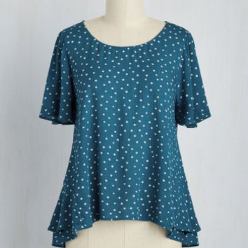 Think Posy-Tive Top in Teal | Mod Retro Vintage Short Sleeve Shirts | ModCloth.com