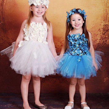Blue floral tutu dress, wedding, custom, costume, dress up, phot prop, cake smash, flower girl, ooak dress, floral accents, pearl accents