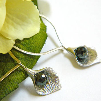 Black Diamond Crystal and Silver Dangle Earrings Handcrafted Long Flower Drops