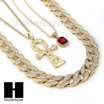 "ICED OUT RUBY ANKH CROSS PENDANT 24"" 30"" CUBAN LINK ROPE CUBAN NECKLACE SET D016"