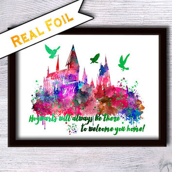 Harry Potter Hogwarts castle art poster Hogwarts castle real foil print Harry Potter real foil decor Home decoration Kids room wall art G109