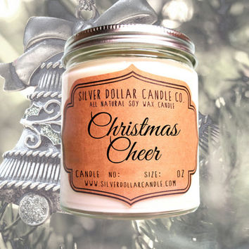 Christmas Cheer 8oz Scented Soy Candle, Christmas Gifts, Christmas for her, Stocking Stuffers, Secret Santa, Holiday Candle, Clove, Nutmeg