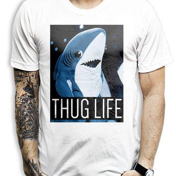 Left Shark Thug Life Shirt - Left Shark, Pop, Music, Idol, Blue, Shark, Thug Life, Funny, Super Bowl, Shirt, T Shirt, Clothing, Clothes,