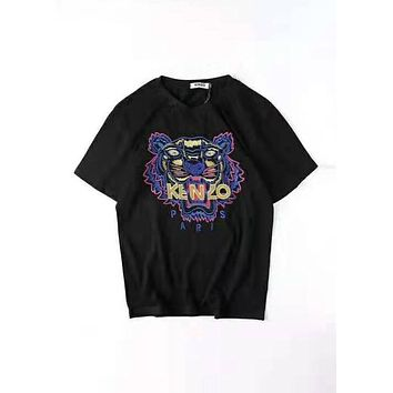 Kenzo 2019 new men and women classic tiger head letter embroidery round neck T-shirt black