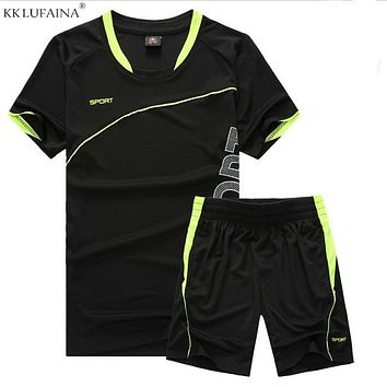 Mens Fitness Tracksuit Set Summer Casual Sporting Male Quick-Drying Short-Sleeved Tops+Shorts Sweatsuit 2 Piece Set Track Suit