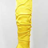 Yellow Satin Slouchy Shaft Pointy Toe OTK Thigh Boot High Heel