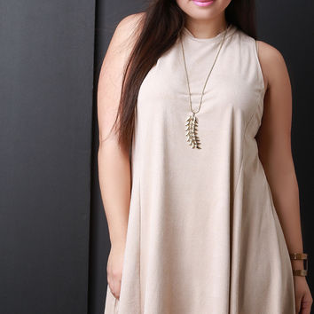 Sleeveless Faux Suede Trapeze Dress