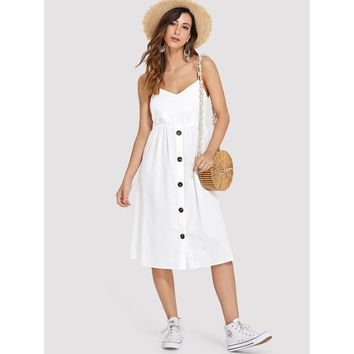 Cutout Tie Back Buttoned Cami Dress White