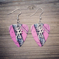 Hot pink mossy oak camo with silver deer buckmark charm guitar pick earrings jewelry for country girl