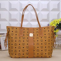 MCM Women Leather Handbag Tote Shoulder Bag Clutch Bag