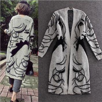 Autumn Winter Knitted Cardigans Women Print Loose Sweater Thick Long Cardigan Coat Open Stitch